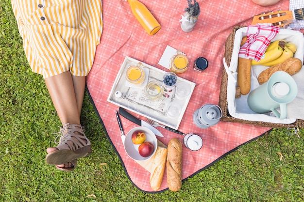 Close-up of woman sitting near the picnic basket on blanket Free Photo