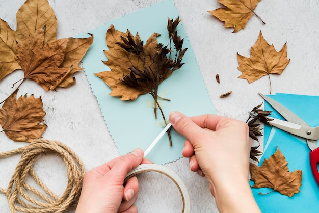 Close-up of a woman sticking the autumn leaves with white tape on textured backdrop Free Photo