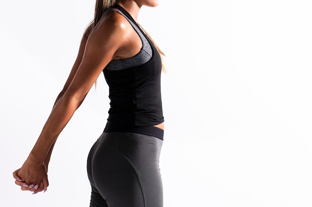 Close-up woman stretching arms with copy-space Free Photo