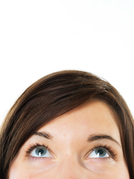 Free Photo   Close-up of woman with blue eyes looking up