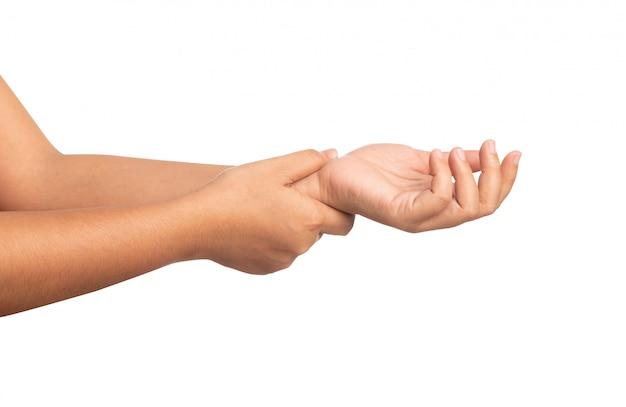 Close up women using hand touching a wrist isolated Premium Photo