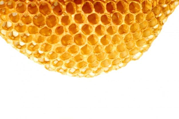 Close up yellow beautiful honeycomb with honey Premium Photo