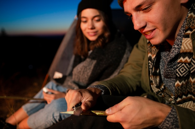 Close-up young man and woman outdoors Free Photo