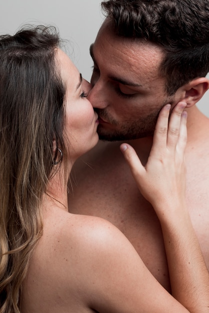 Close-Up Young Naked Couple Kissing Photo  Free Download-5977