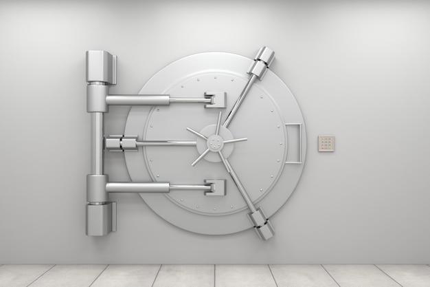 Закрытая дверь банковского хранилища с кодовой панелью Premium Фотографии