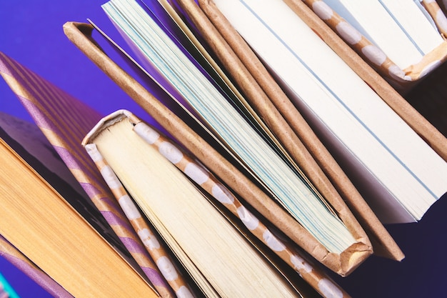 Closed books, top view, flat lay Premium Photo
