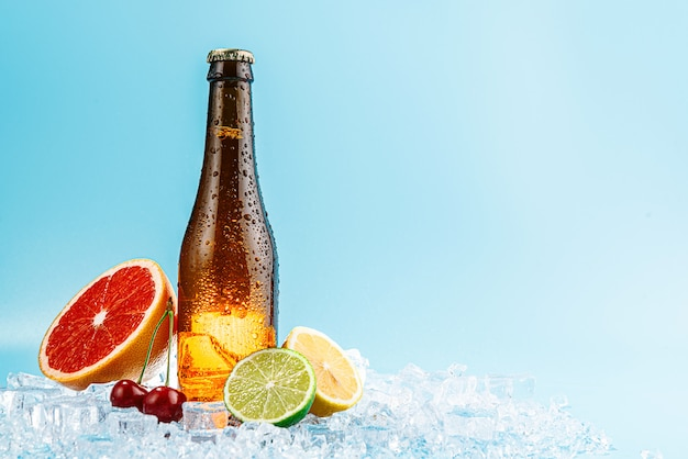 Closed bottle of brown glass beer on ice. fruits lie nearby. concept of fruit craft beer or cider Premium Photo