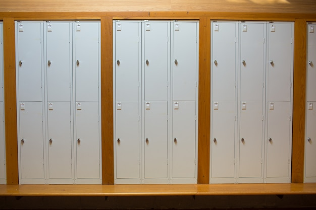 Closed lockers in a row at the college Premium Photo