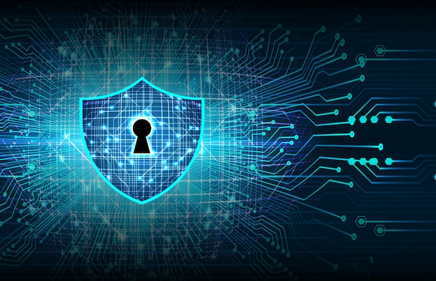 Closed padlock on digital background, cyber security Premium Photo