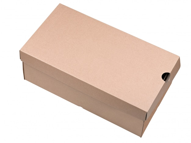 Closed shipping cardboard box isolated on white Premium Photo