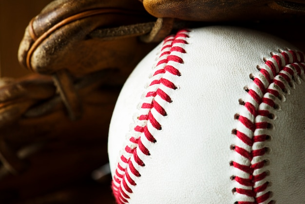Closeup of baseball ball Free Photo