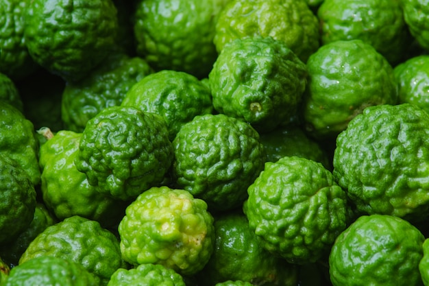 Closeup bergamot fruit on background. Premium Photo