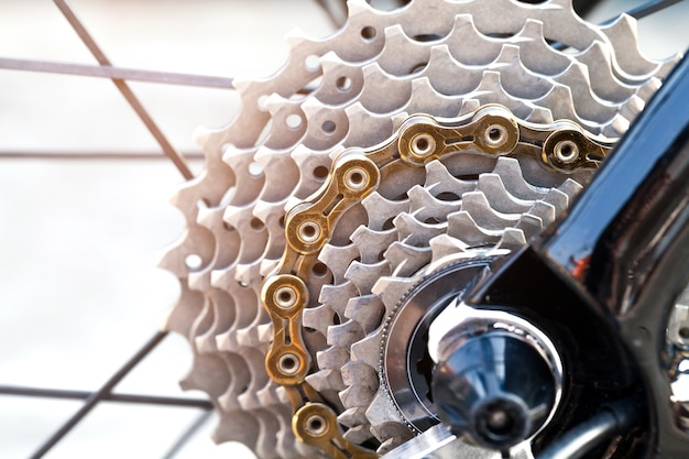 Closeup of a bicycle gears mechanism and chain Premium Photo