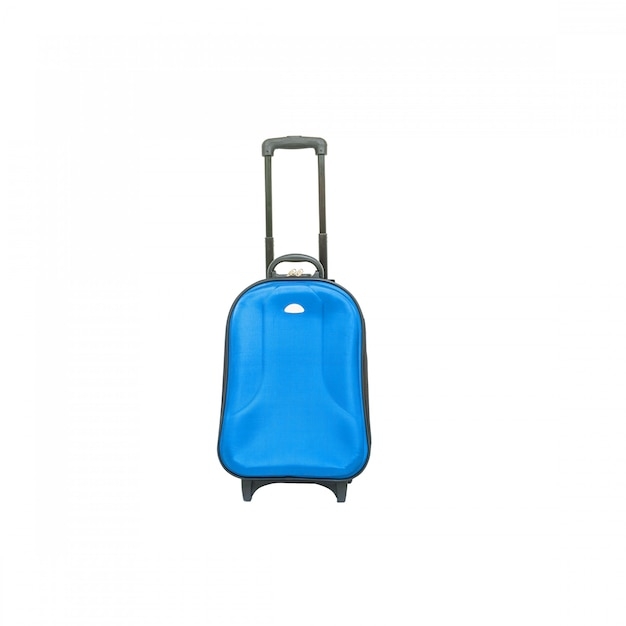 Closeup blue luggage isolated on white Premium Photo