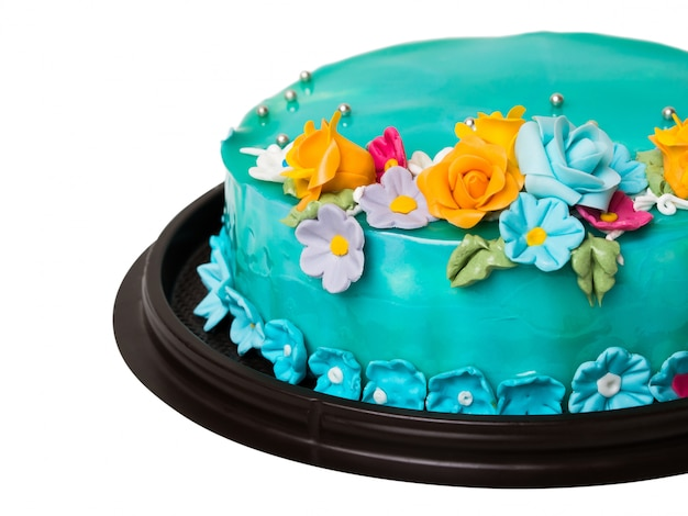 simple cake decorating ideas with fondant.htm closeup blue ocean jam cake decorations with colorful icing fruits  closeup blue ocean jam cake decorations