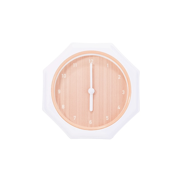 Closeup brown wall clock for decorate in 6 o'clock isolated on white background with clipping path Premium Photo