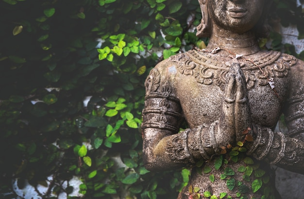 Closeup buddhism for statues or models of the buddha portrait Premium Photo