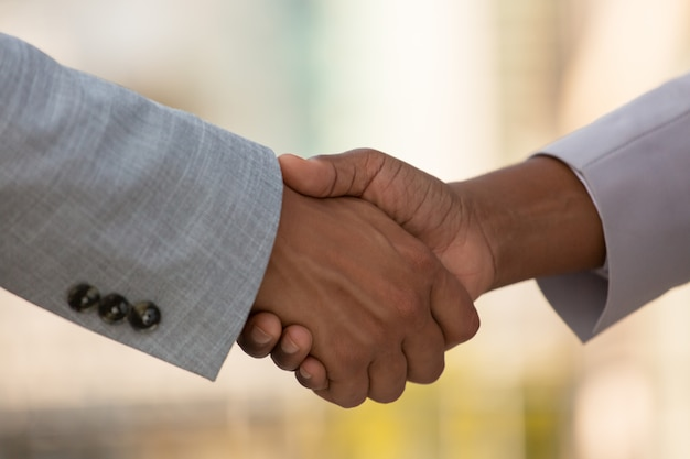 Closeup of business colleagues handshake Free Photo