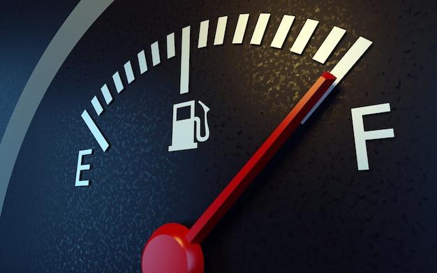 A closeup of a car fuel gauge Premium Photo