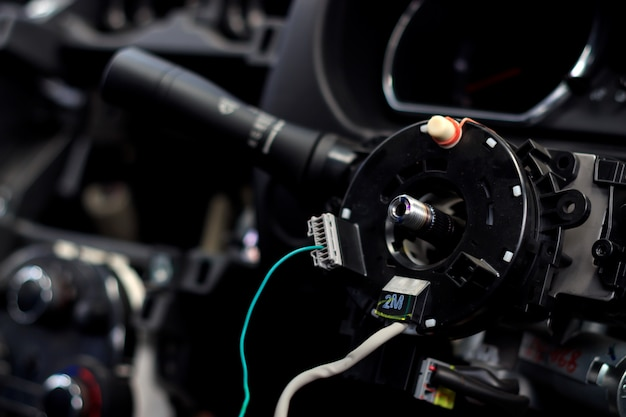 Closeup car steering wheel repair after the accident Premium Photo