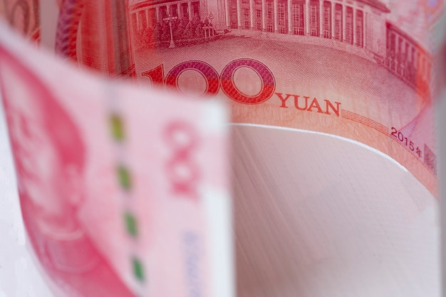 Closeup china yuan banknote. economy and exchange currency concept. Premium Photo