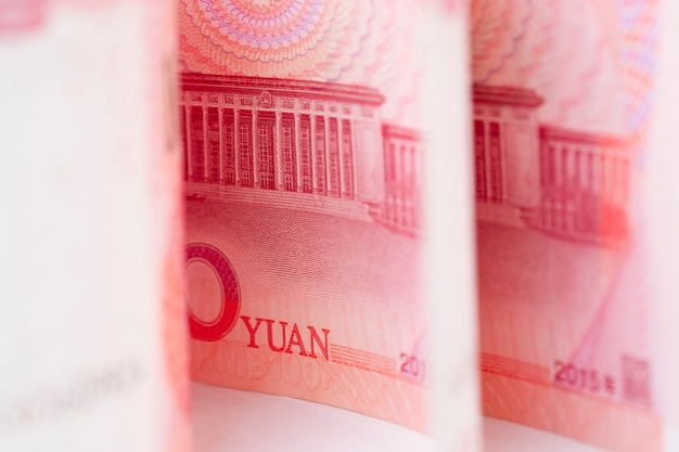 Closeup china yuan banknote. economy and exchange currency concept Premium Photo