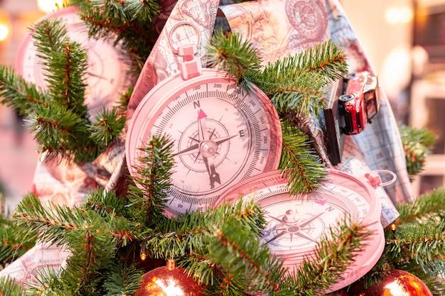 Closeup on christmas tree decoration over festive background Premium Photo