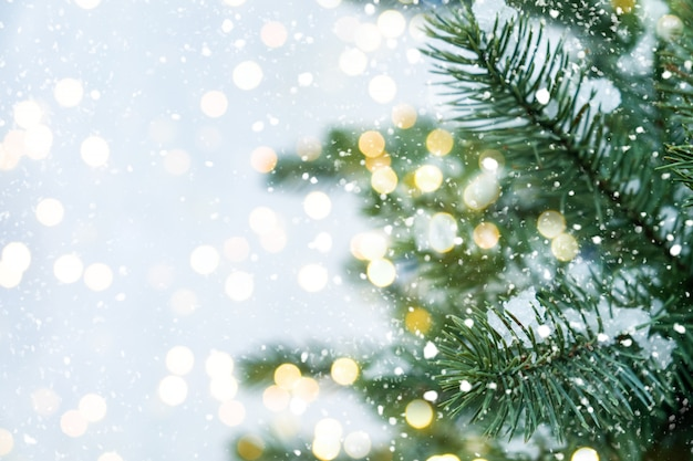 Closeup of christmas tree with light, snow flake. christmas and new year holiday background. vintage color tone. Premium Photo
