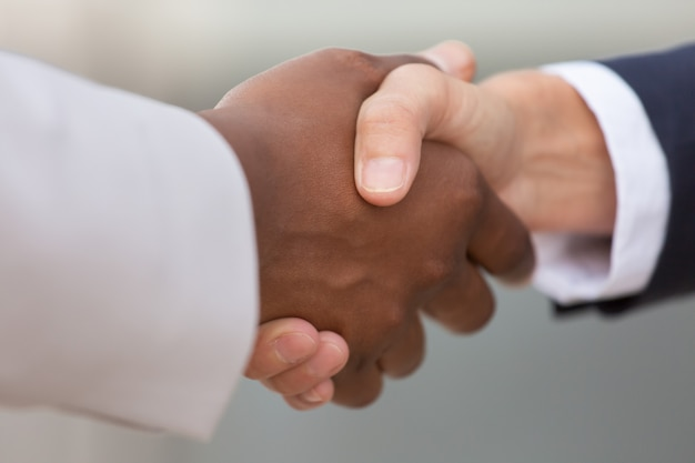 Closeup of diverse business colleagues handshake Free Photo