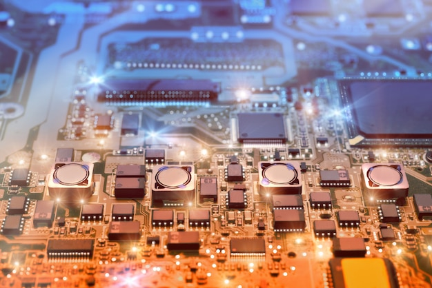 Closeup on electronic board in hardware repair shop Premium Photo