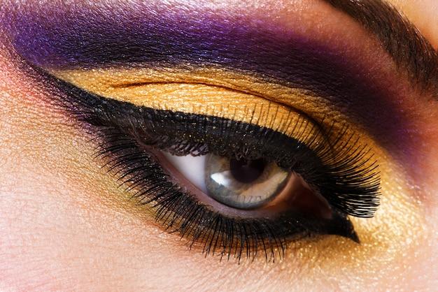 Closeup female eye with beautiful fashion bright makeup Free Photo