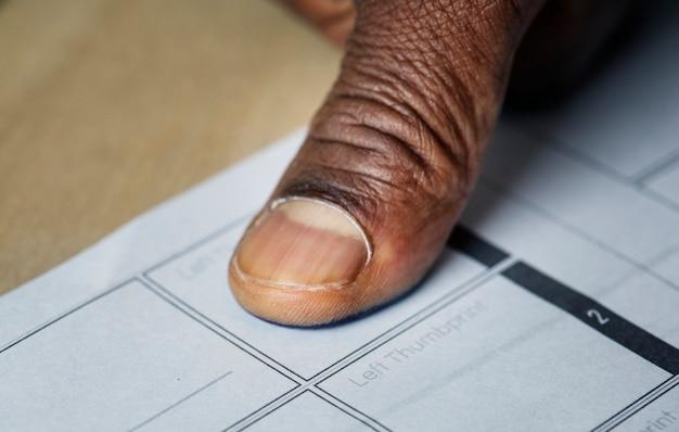 Closeup of fingerprint on paper Free Photo