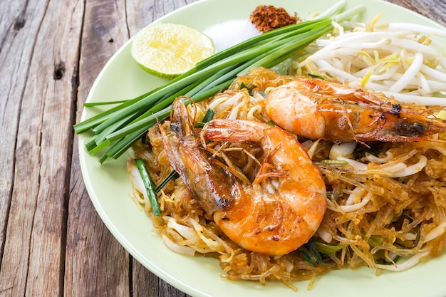 closeup fried noodle with prawns, thai style. local name