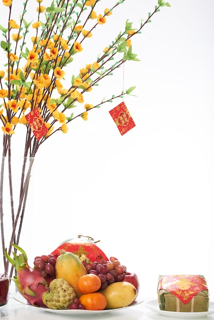Closeup of fruit dish served for the tet dinner Free Photo