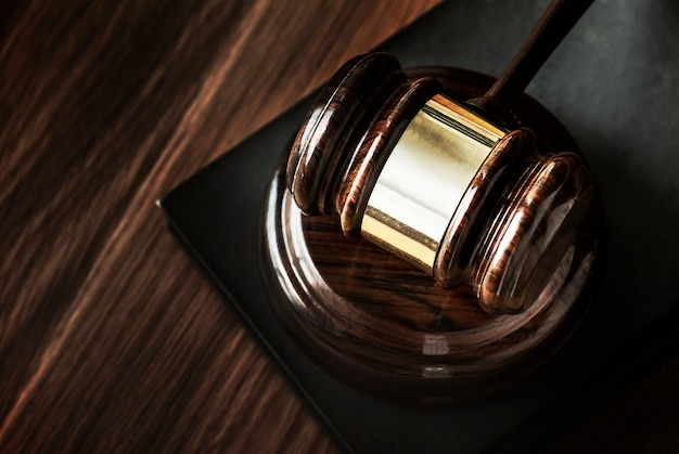 Closeup of gavel judgement concept Free Photo