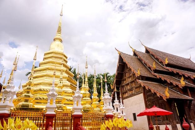 Closeup golden pagoda and ancient sanctuary Premium Photo