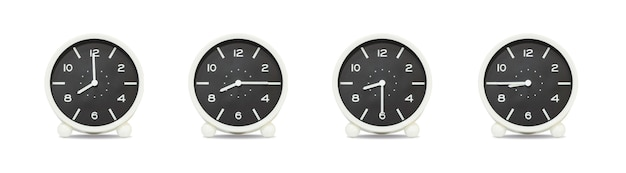 Closeup group of clock isolated on white background Premium Photo