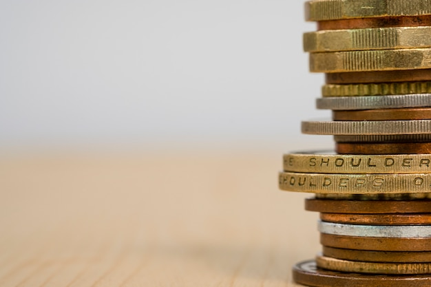 Closeup growing coins stacking. saving  investment and profit concept.-copy space image. Premium Photo
