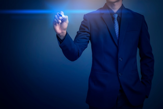 Closeup image of businessman drawing graph Premium Photo