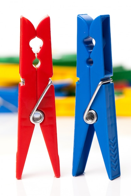 Closeup image of colorful clothespins Free Photo
