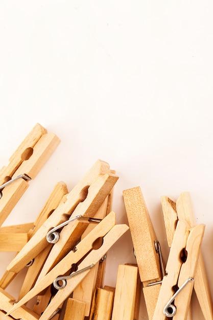 Closeup image of eco clothespins Free Photo