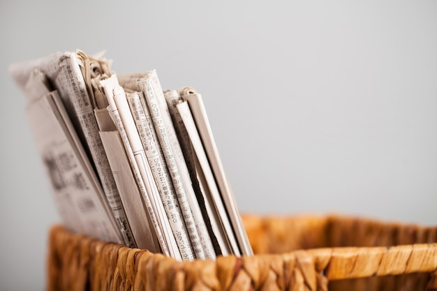 Closeup image of magazines in a box Free Photo