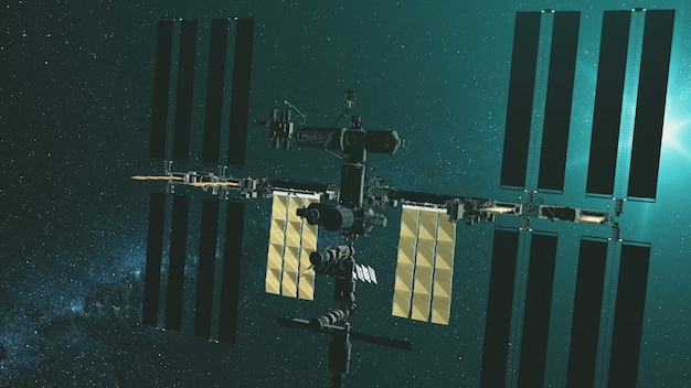 노란색 태양 전지 패널 중력이있는 근접 촬영 국제 우주 정거장 녹색 별 빛에서 비행 프리미엄 사진