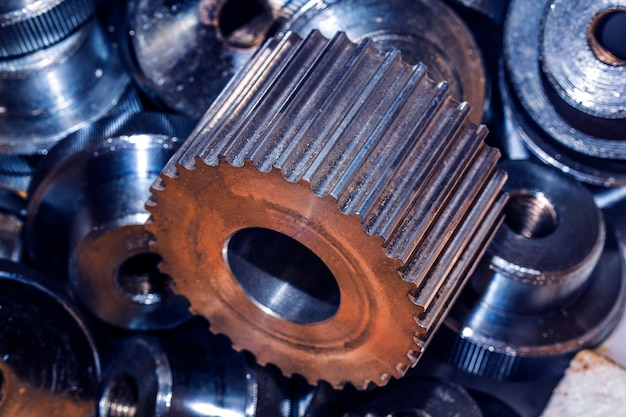 Closeup of metal cog gears Free Photo
