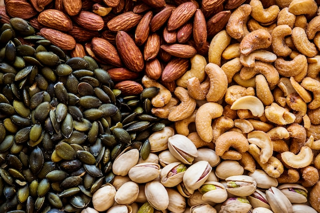 Closeup of mixed nuts Free Photo