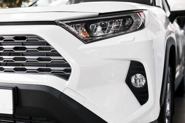 Closeup modern and luxury car headlights. exterior detail Premium Photo