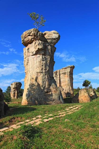 Closeup of mor hin khao, thailand stonehenge Premium Photo