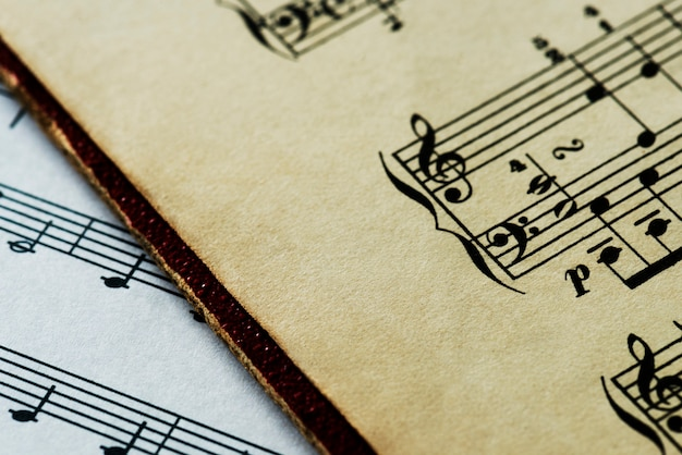 Closeup of musical sheet Free Photo