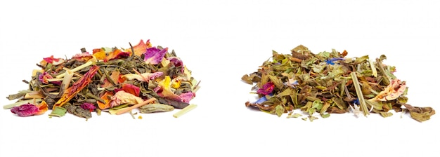 Closeup of natural herbal tea made of various loose dried herbs isolated on white Premium Photo