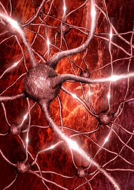 Closeup of neuron with neural network background in electrical activity Premium Photo